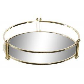 Alquiler bandejas doradas espejo redonda