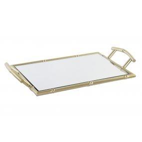 bandeja rectangular metal y espejo bambu